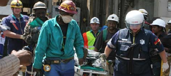 Rescue workers at Harmony Gold Doornkop mine